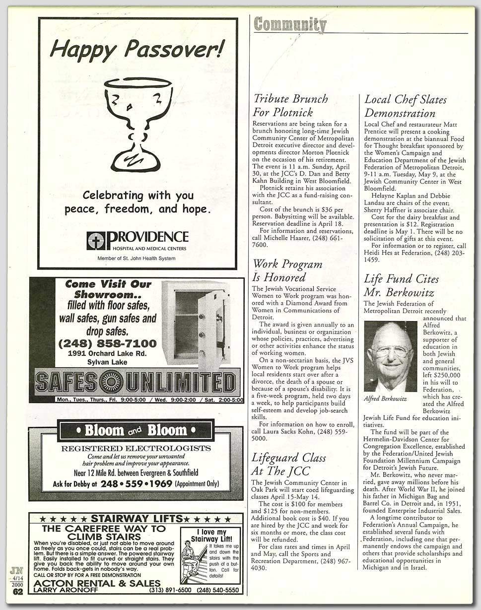 Detroit Jewish News - Detroit Jewish News: April 14, 2000
